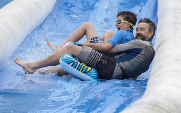 giant water slide lands in brighton